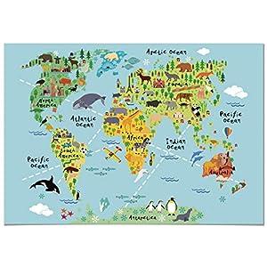 Panorama® Póster Infantil para habitación Mapa Mundi Niños Animal 30x21cm – Impreso Papel 250g – Láminas para Enmarcar – Cuadros Infantiles – Cuadros para habitación bebés – Decoración habitación bebé