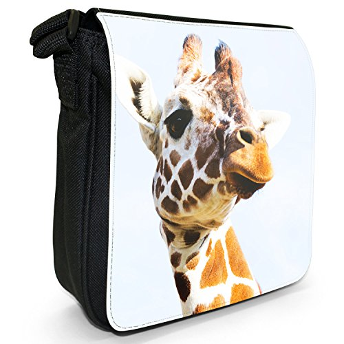 Small Size Canvas Giraffe African Head Shoulder Black Bag PqRBS5