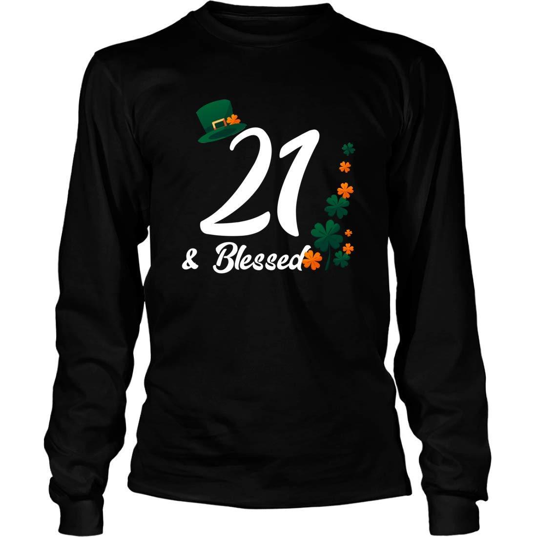 Shirts Gifts for 21st Birthday Irish Mishozi 21st and Blessed Ireland Long Sleeve T-Shirt Unisex