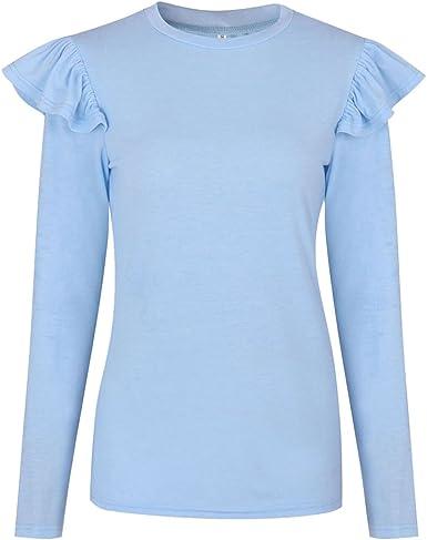 NiSeng Mujer Camiseta Mango Largo Blusa Cuello Redondo Casual ...