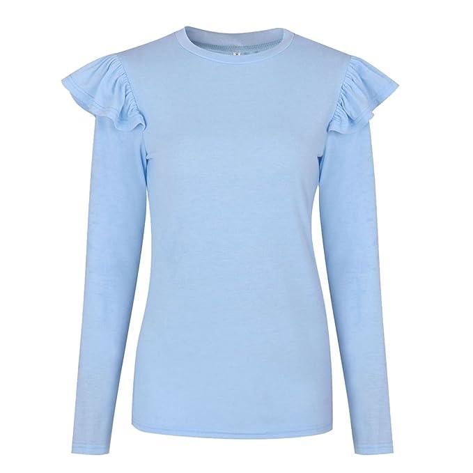 NiSeng Mujer Camiseta Mango Largo Blusa Cuello Redondo Casual Rayas Modernas Blusas Top Azul S