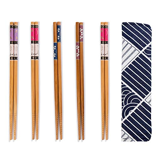 5 Pairs Chopsticks Reusable Set - Japanese Natural Bamboo Chop Stick Set with Case as Present Gift