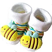 Foreveryang Unisex Baby Cute 3D Cartoon Short Sock Slipper Shoe Bootie Bee