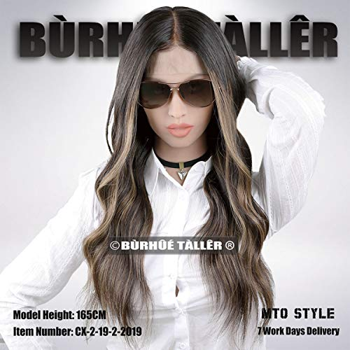 3T Balayage Darkest brown fall into brunette base with sand blonde highlights hairstyle lace front human hair wigs (20inch 150density) ()