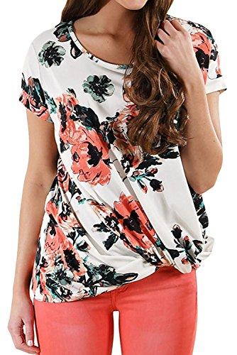 Mujer Verano Casual Floral Impresión Tee Tops Camiseta Manga Corta Con Cuello Redondo Camisetas Cortas T-shirt Blanco 2