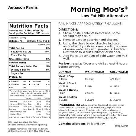 Augason Farms Morning Moo's Low Fat Milk Alternative Certified Gluten Free Emergency Bulk Food Storage 4-Gallon Pail 533 Servings by Augason Farms (Image #7)