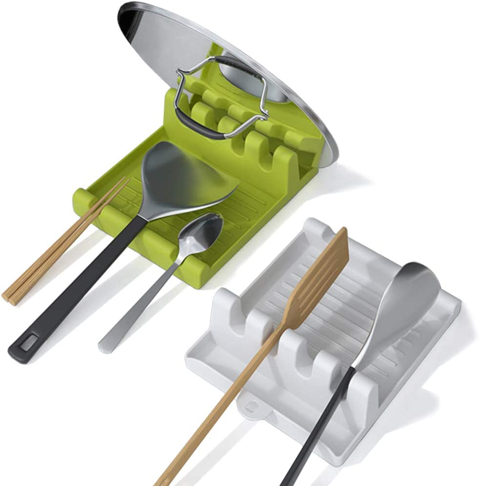IYOOH Utensil Rest for Stove Top, Spatula/Ladle/Spoon Rest with Drip Pad & Pot Lid Holder Stand for Kitchen, Cooking Utensil No Drip Holder, Multifunction Kitchen Spatula Rack with Lid Holder, 2 Pack…