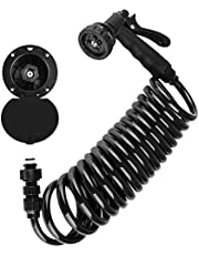 Dura Faucet RV Exterior Quick Connect Sprayer 7 Settings, 15-Foot Coiled Hose Utility Spray Dock Kit
