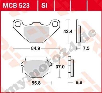 Organische Mischung mit ABE f/ür Aprilia Moto 6.5 Starck Baujahr 1995 Bremsbelag TRW Lucas MCB523