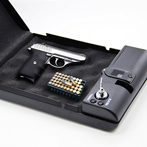 SOLOMONE CAVALLI Portable Biometric Fingerprint Gun Pistol Safe Jewelry Handgun Safe Box Security Box Hidden in Bedroom Car