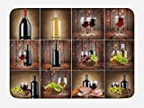 grape bath mat - Wine Bath Mat by Ambesonne, Wine Themed Collage on Wooden Backdrop with Grapes and Meat Rustic Country Drink, Plush Bathroom Decor Mat with Non Slip Backing, 29.5 W X 17.5 W Inches, Brown Black Red