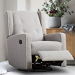 Living Room Bonzy Home Swivel Glider Rocker Recliner Chair, Fabric Gliding Recliner Manual (Light Grey)