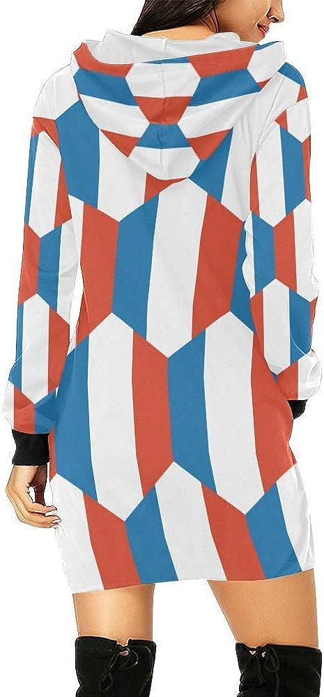 Lumos3DPrint French Flag Womens Hoodie Mini Dress