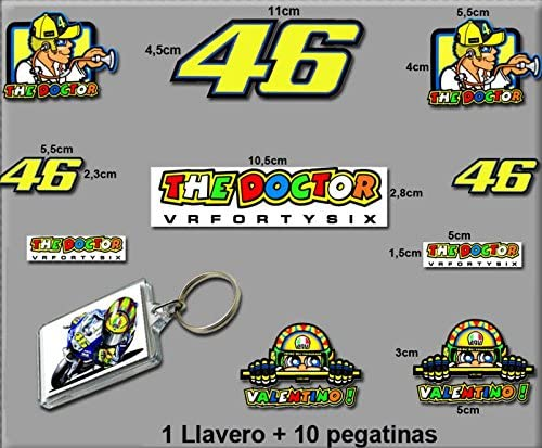 Model 4 Ecoshirt BJ-387Q-8RZO Stickers and Keychain 46 Valentino Rossi The Doctor Am10 C Stickers and Key Ring Aufkleber Stickers Adesivi Decals