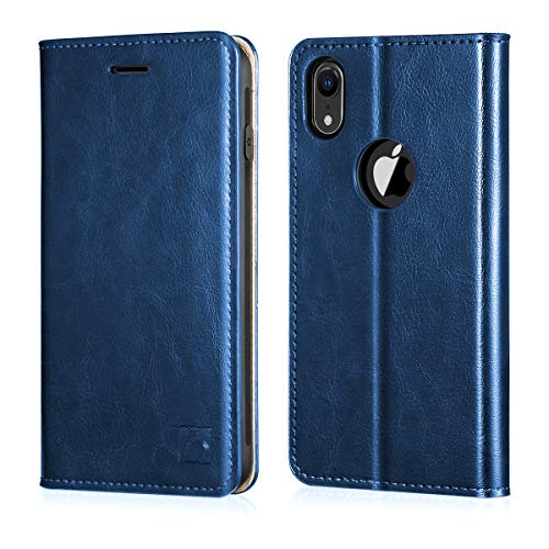 Belemay iPhone XR Wallet Case, iPhone XR Case, Genuine Cowhide Leather Flip Case Slim Folio Cover [Durable Soft TPU Inner Case] Card Holder Slots, Kickstand, Cash Pockets Compatible iPhone XR, Blue