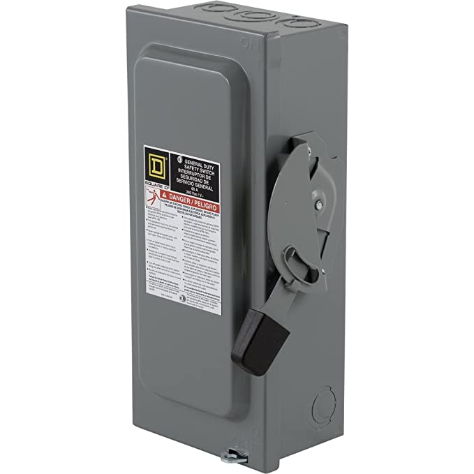 Square D by Schneider Electric D222NCP 60-Amp 240-Volt Two-Pole Indoor General Duty Fusible Safety Switch with Neutral - Circuit Breaker Panel Safety ...