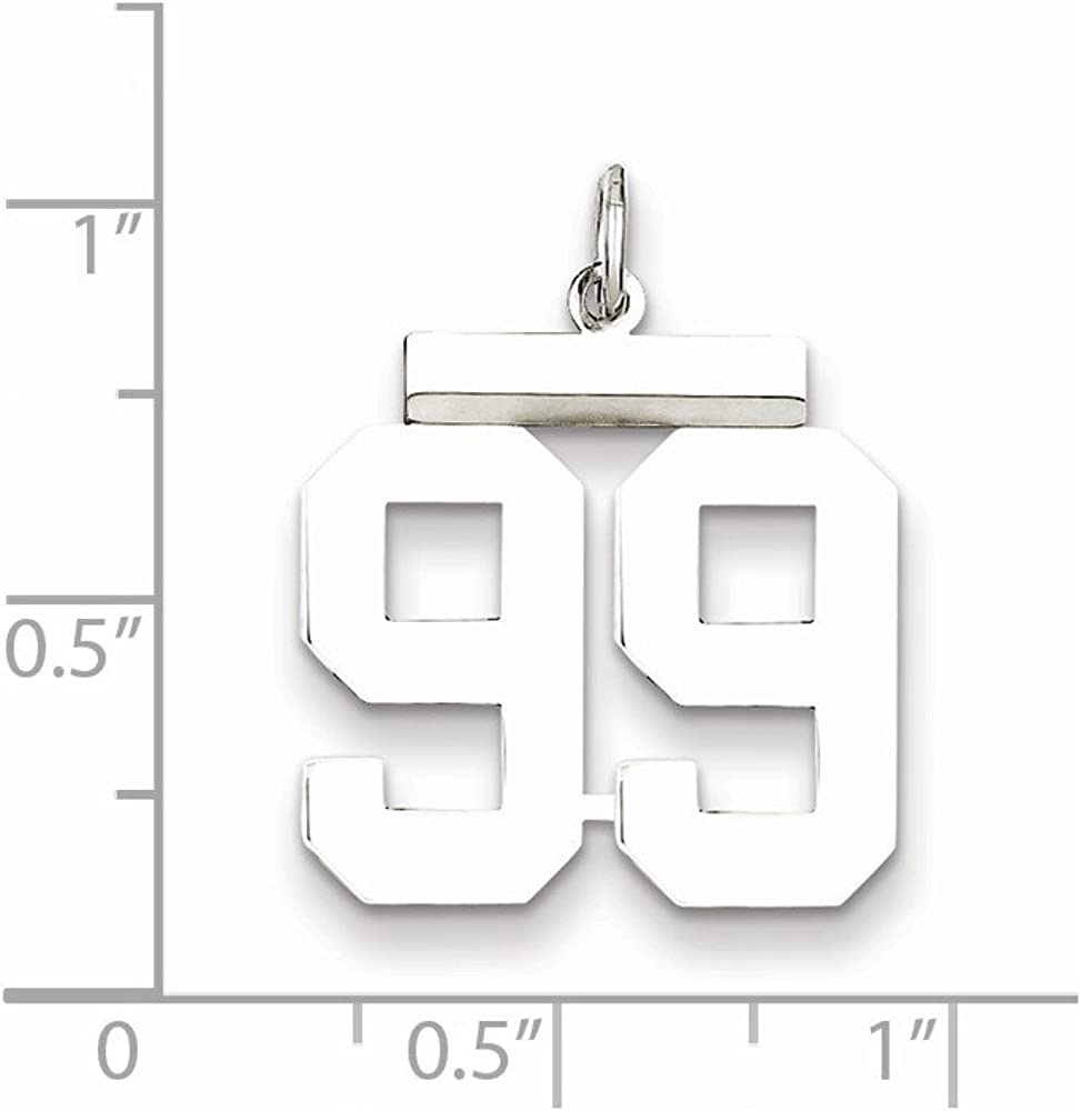 21mm x 16mm Solid 925 Sterling Silver Medium Number 99 Charm Pendant