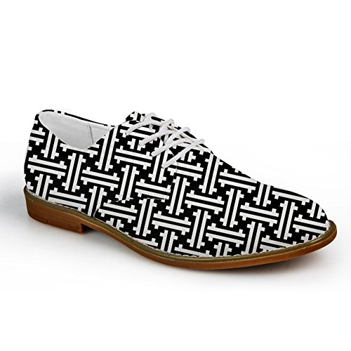 HUGS IDEA Classic Black and White Mens Oxford Flats Lace Up Shoes