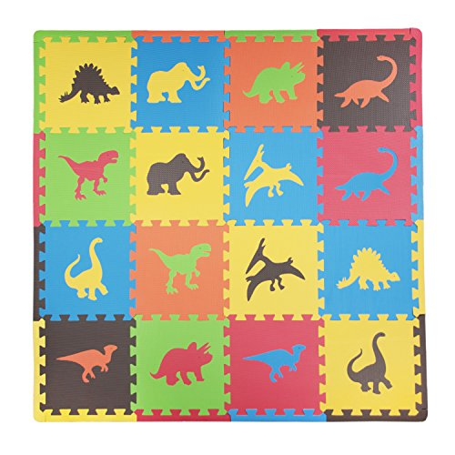 Tadpoles Baby Play Mat, Kid's Puzzle Exercise Play Mat - Soft EVA Foam Interlocking Floor Tiles, Cushioned Children's Play Mat, 16pc, Dino, Multi/Primary, 50x50