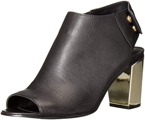 (Steve Madden Women's NONSTP Ankle Bootie, Black Leather/Gold, 8 M US)
