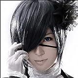 RightOn Mordor Black Butler Kuroshitsuji Ciel Phantomhive Cosplay Black Gray Cosplay Wig with Free Wig Cap