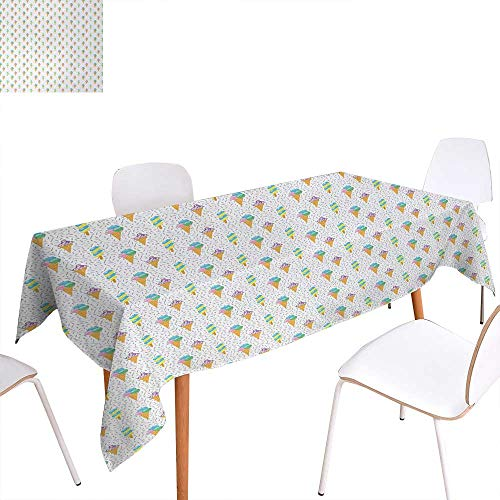 Warm Family Ice Cream Customized Tablecloth Summer Ice Dessert Collection with Waffle Cones and Sundae Dairy Refreshment Stain Resistant Wrinkle Tablecloth 70