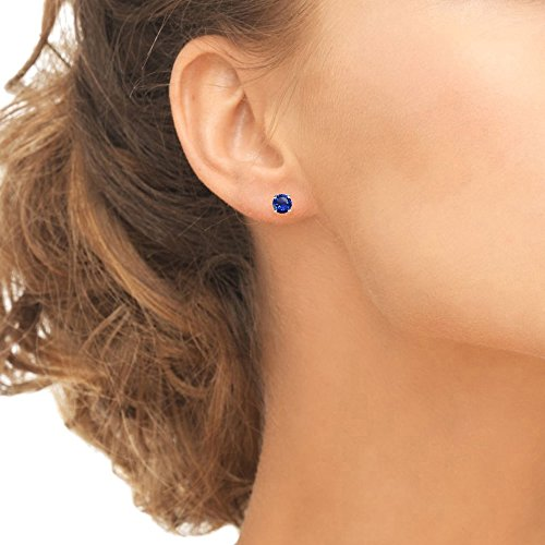 Sterling Silver Created Blue Sapphire 5mm Round-Cut Solitaire Stud Earrings by GemStar USA (Image #2)