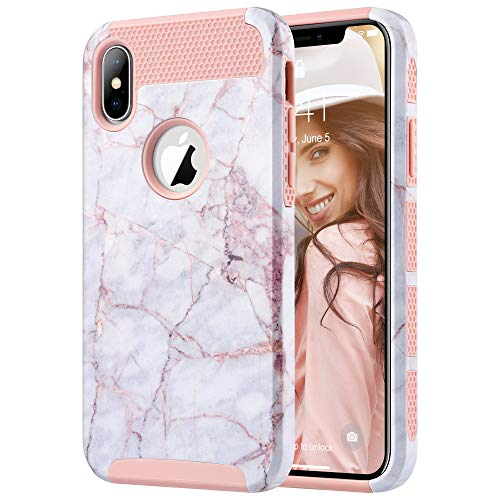 ULAK iPhone Xs Case, iPhone X Case, Slim Fit Hybrid Hard PC Shell Flexible Shock Absorbing TPU Skin Protective Grip Cover for Apple iPhone X/Xs 5.8 Inch, Cracked Marble - Hard Case Hybrid