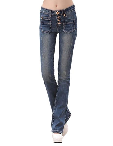 Limamai Pantalones Vaqueros Mujer Corte Bota Boot-Cut Jeans ...