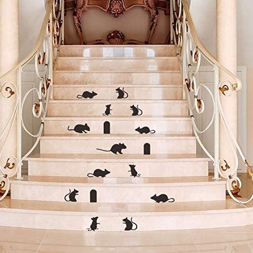 HCHD Dibujos Animados pequeño ratón Familia Agujero escaleras Pegatinas de Pared Esquina Escalera decoración Tatuajes de Pared extraíble DIY Arte de Vinilo Mural: Amazon.es: Hogar