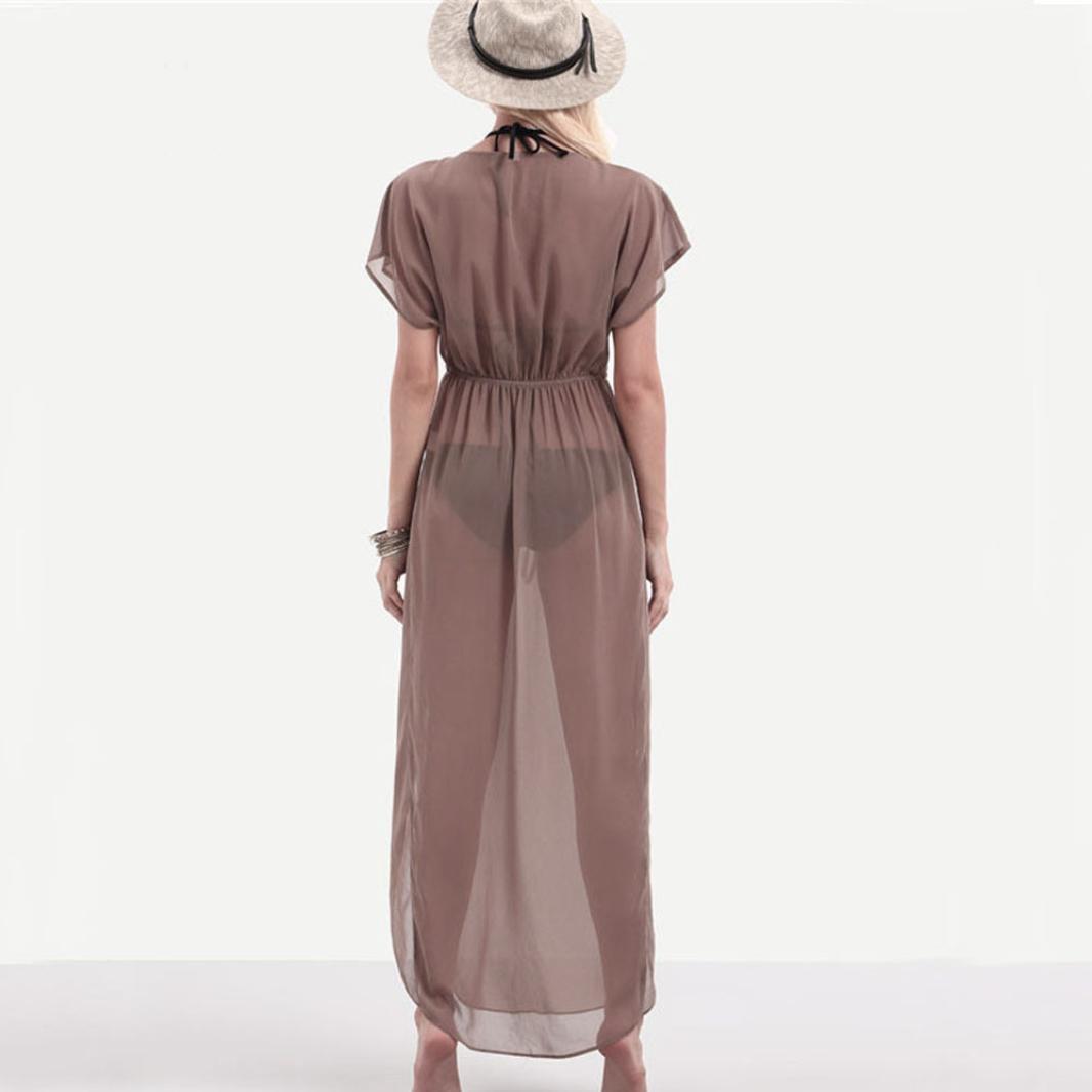 844b8c87163 TOPUNDER Women Sexy Translucent V-Neck Short Sleeve Boho Long Maxi ...