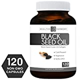 kalonji oil cold pressed - Best Black Seed Oil 120 Softgel Capsules (NON-GMO & Vegetarian) Made from Cold Pressed Nigella Sativa Producing Pure Black Cumin Seed Oil - Made in the USA - 500mg each (1,000mg Per Serving)