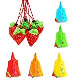 Finex - Set of 5 - Folded into a Strawberry Foldable Reusable Recycling Shopping Tote Bag Travel Totes Grocery Recycle Bags -Various Color