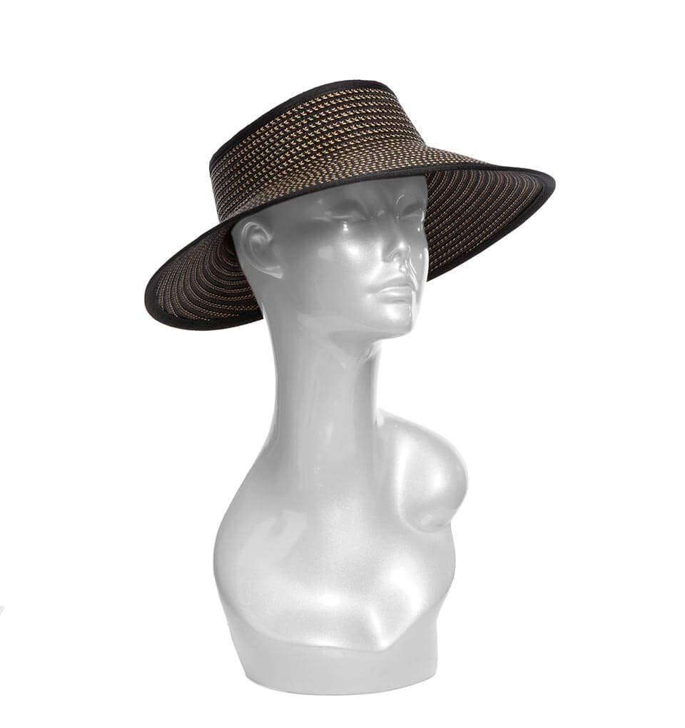 Eric Javits Luxury Fashion Designer Women's Hat - Lil Squishee Visor - Black Speckle