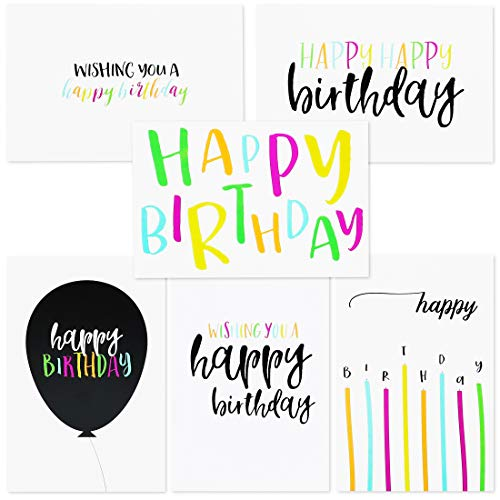 (Sustainable Greetings 144-Pack Blank Happy Birthday Cards Bulk Box Set, 6 Assorted Designs, Envelopes Included, 4 x 6)