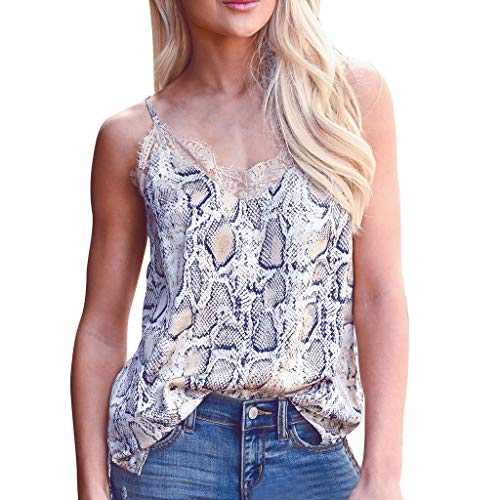 YKARITIANNA Fashion Womens V-Neck Lace Serpentine Printing Sleeveless T-Shirt Blouse Tops Khaki