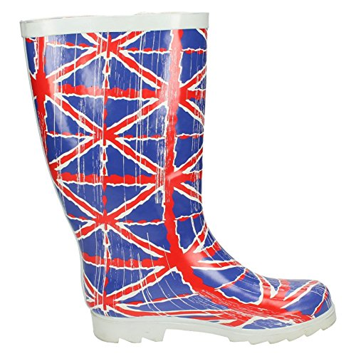 Spot On Damen Gummistiefel mit Union Jack, Used-Look, unregelmäßiger Farbverlauf Bunt