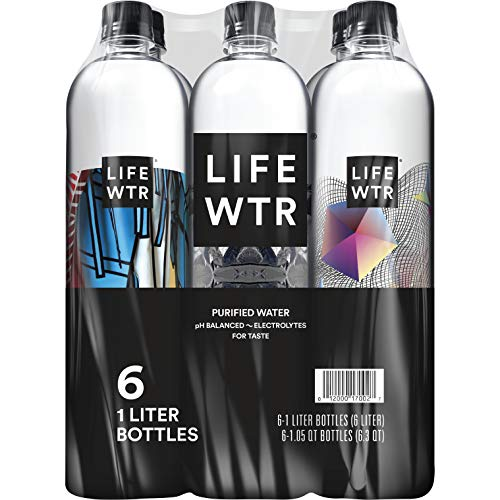(LIFEWTR, Premium Purified Water, pH Balanced with Electrolytes For Taste, 1 liter bottles (Pack of 6) (Packaging May)