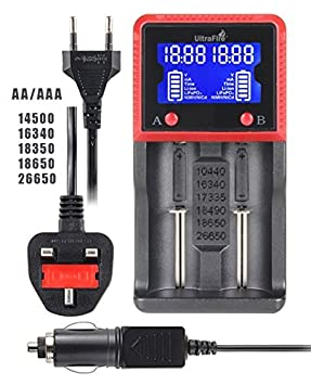 UltraFire Cargador Baterías con Pantalla LCD 18650 Cargador,H2 ...
