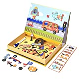 QINUKER STEM Educational Toys Magnetic Puzzle, Dry Erase Board 57 Pieces Cardboard Jigsaw Drawing Sketchpad Vehicle Learning Toy Games for 3-6 Year Old Children Kids Toddlers