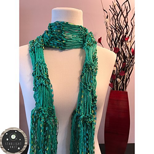 Hand Knit Ladies Fashion Accessory Scarf with Teal Green accented with Green and Yellow Shimmer Ribbon