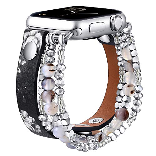 fastgo Leather Leopard Band Compatible with Apple Watch 38mm 44mm 40mm 42mm Women, Furry Leopard Elastic Cheetah Printed Beaded Bracelet Strap for Iwatch Series SE & 6 5 4 3 2 1