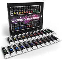 Castle Art Supplies Watercolor Paint Set for Professionals or Kids - 24 Concentrated and Vivid Colors in Tubes