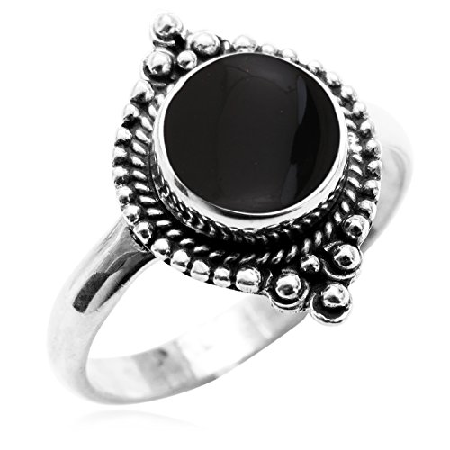(Genuine Black Onyx 8x8mm Round & .925 Silver Plated Handmade Fashion Ring (Size-7))