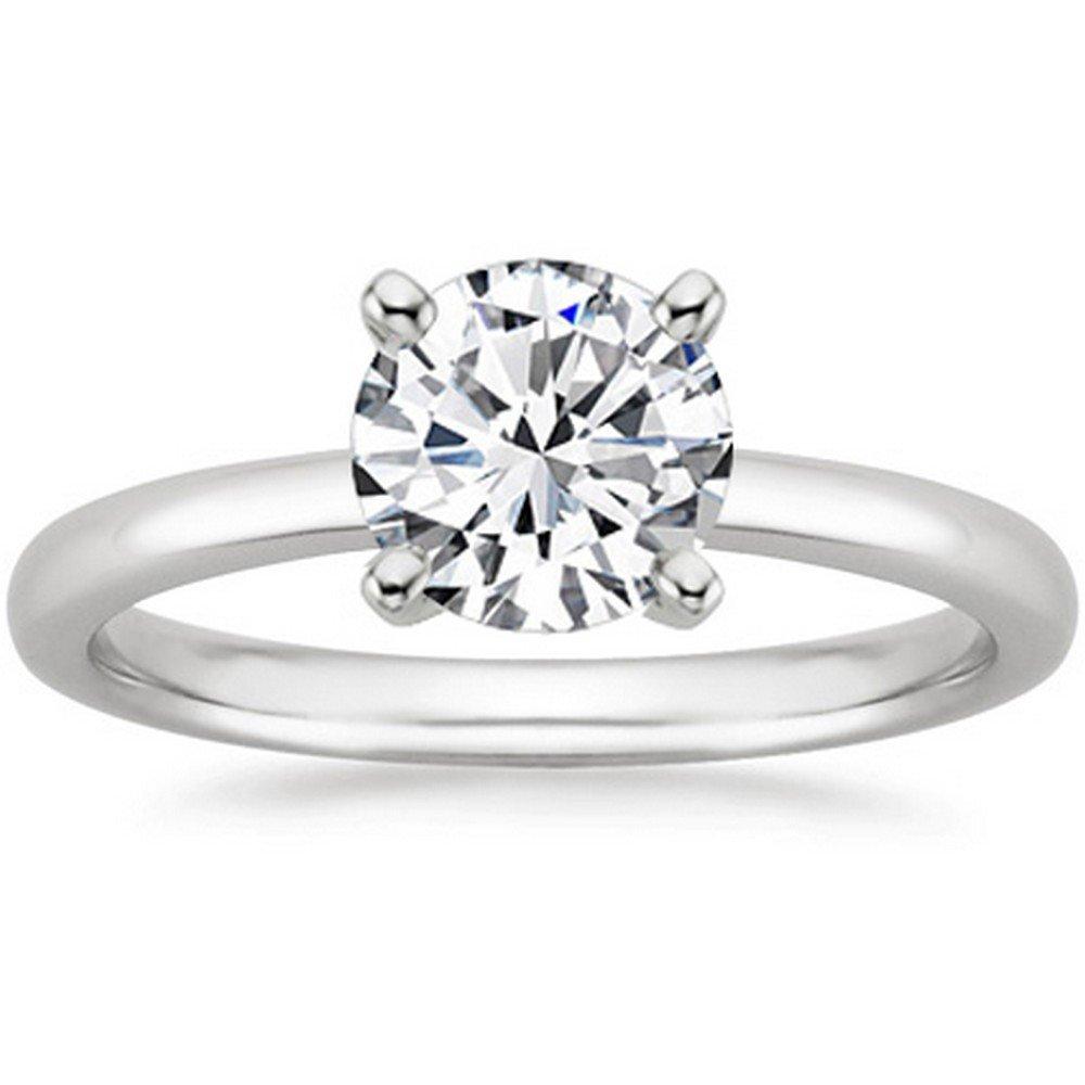 1 2 Carat 14K White Gold Round Cut Solitaire Diamond Engagement Ring (0.5  Carat K-L Color I2 Clarity) 01e5cf391