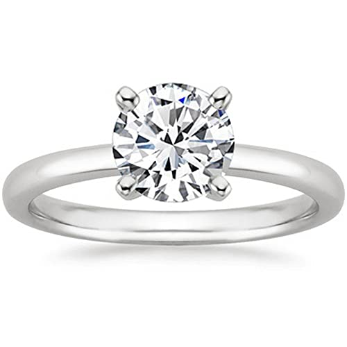1/4 Carat 18K White Gold Round Cut Solitaire Diamond Engagement Ring (0.25 Carat F-G Color I2 Clarit...