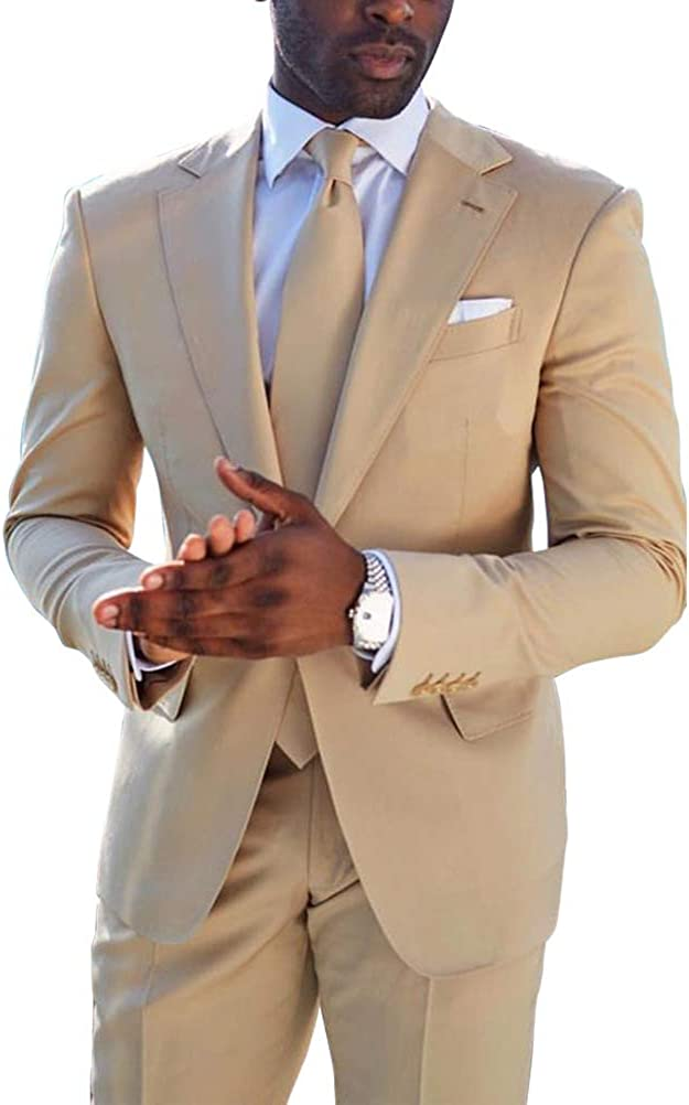 Men Blazer Business Suit Slim Fit Tuxedo Coat Pants Trousers Work Formal Wedding