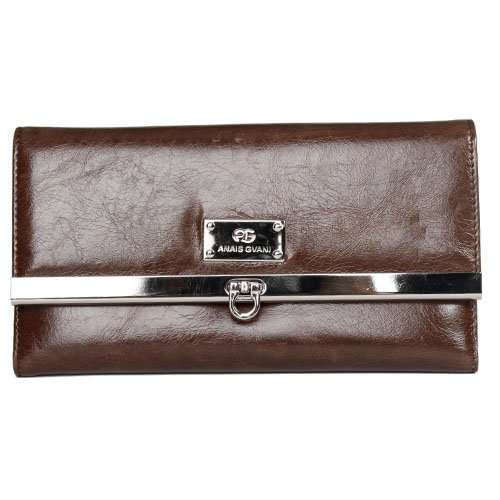 (Anais Gvani Women's Classic Genuine Italian Leather Checkbook Wallet Purse -Brown(Deep Beige Inside))