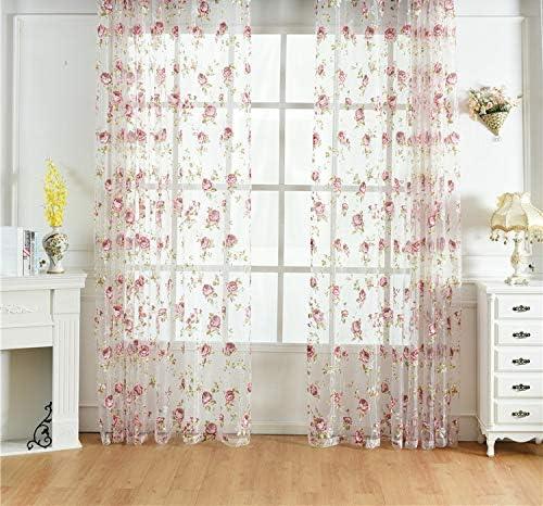Kolachic Rod Pocket Top Rose Floral Sheer Voile Curtain