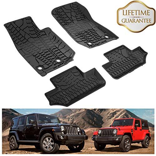 KIWI MASTER Floor Mats Compatible for 2014-2017 Jeep Wrangler JK 2-Door Front & Rear Row TPE Floor Liners All Weather Protection Slush Mat Black